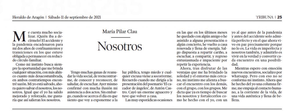 Columna de Mará Pilar Clau en Heraldo, 11-9-21